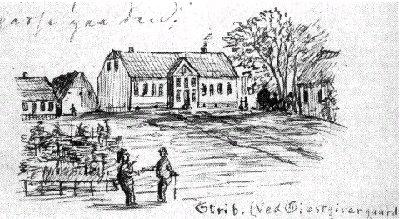 25c7e51de40 Gæstgivergården - tegnet i 1866 af den da 13 årige Otto Fønss - søn af  Veilby Præsten H.L.F Fønss